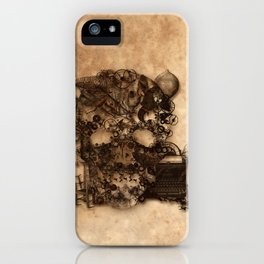 Vintage Steampunk Skull Brown Metal Gears Texture iPhone Case