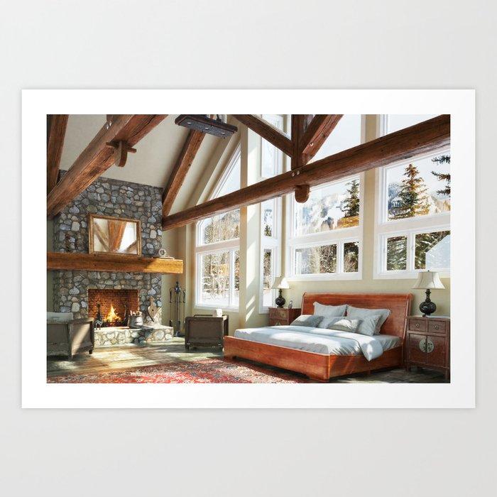 Rustic Cabin Bedroom Art Print Gorgeous Bedroom Canvas Prints