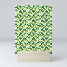 WEED LOVE, GREEN YELLOW Cannabis Smoke Marijuana Mini Art Print