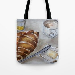French breakfast, coffee and croissant, original oil painting, daily traditional art Tote Bag