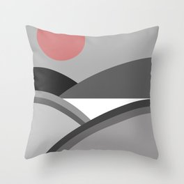 Fields & Hills - Gray Throw Pillow