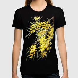 Godlen wattle flower watercolor T-shirt