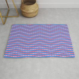 Waving Fuzzy Pink and Blue Pattern Rug