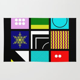 Eclectic 1 - Random collage of 9 bold colourful patterns in an abstract style Rug