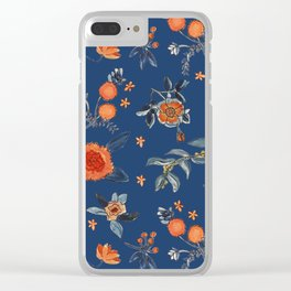 Flowery blue orange Pattern Clear iPhone Case