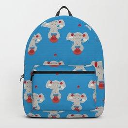 Juggling elephant illustration plus pattern design Backpack