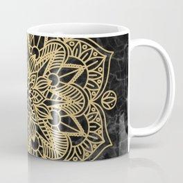 Gold Mandala on Black Marble Coffee Mug