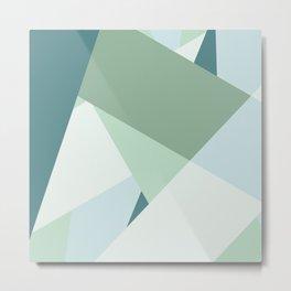 Modern abstract beach color block geometric stripes blue green pattern Metal Print