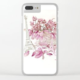 Pink Magnolia Spring Blossoms French Parisian Decor Clear iPhone Case