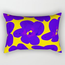 Blue Retro Flowers Yellow Background #society6 #decor #buyart Rectangular Pillow