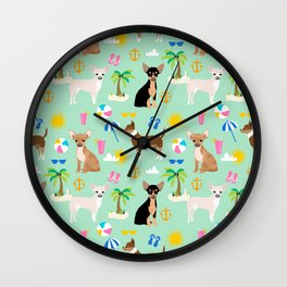 Chihuahua beach summer tropical cute chihuahuas dog gifts Wall Clock