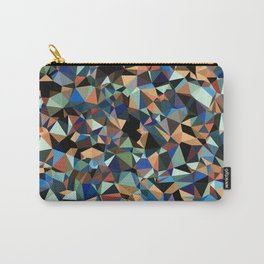 vintage psychedelic geometric triangle polygon pattern abstract in brown blue green Carry-All Pouch