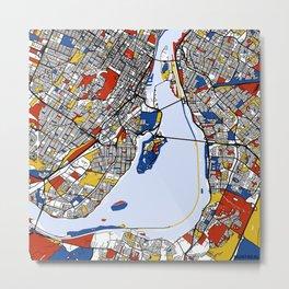 montreal map mondrian Metal Print