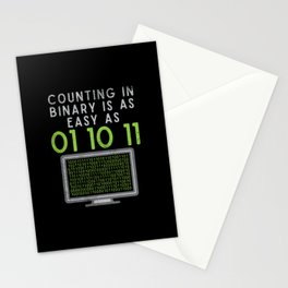 Counting In Binary Is As Easy As 01 10 11 Stationery Cards