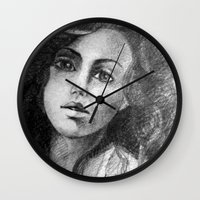 jessica lange Wall Clocks featuring Jessica by Judy Hung