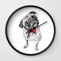 percy jackson Wall Clocks featuring Percy Pug by 13 Styx