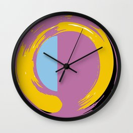Zen circle yellow orange purple blue art print Wall Clock