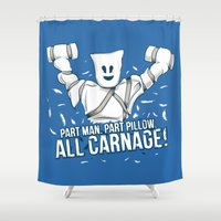 carnage Shower Curtains featuring All Carnage! by Locust Years