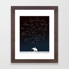 Falling star constellation Framed Art Print