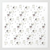 pugs Art Prints featuring Pugs by Alisse Ferrari