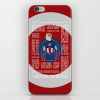 avenger iPhone & iPod Skins featuring The First Avenger by MacGuffin Designs