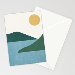 Sunny Lake - Abstract Landscape Stationery Cards