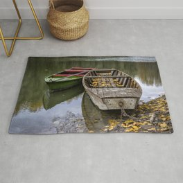 Rowboats On The Water In Autumn Rug