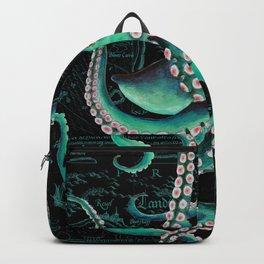 Teal Octopus Watercolor Vintage Map Dance Backpack
