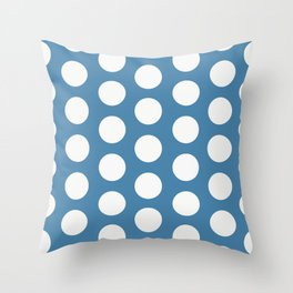 Large Polka Dots on Blue Throw Pillow