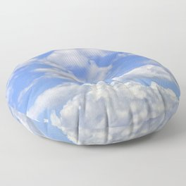 Fluffy clouds blue sky sunny day Floor Pillow