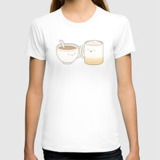 coffee, tea.. everything is fine by me! White SMALL Womens Fitted Tee