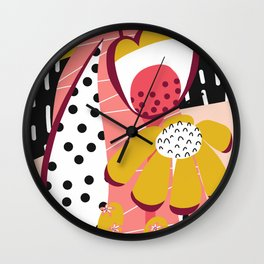 Collage Flowers pink, gold, white, black Wall Clock