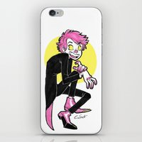 hot pink iPhone & iPod Skins featuring Hot Pink by Halfy