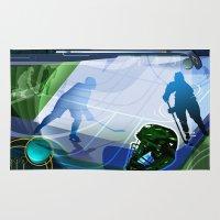 hockey Area & Throw Rugs featuring Hockey by Robin Curtiss
