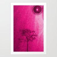 IPHONE CASE-Tree & Sun (Pink version 2) Art Print