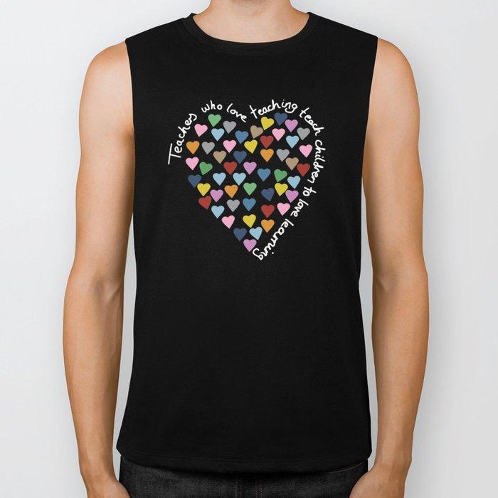 Hearts Heart Teacher Black Biker Tank