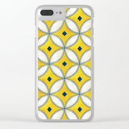 Mediterranean hand painted tile in Yellow, Blue and White Clear iPhone Case