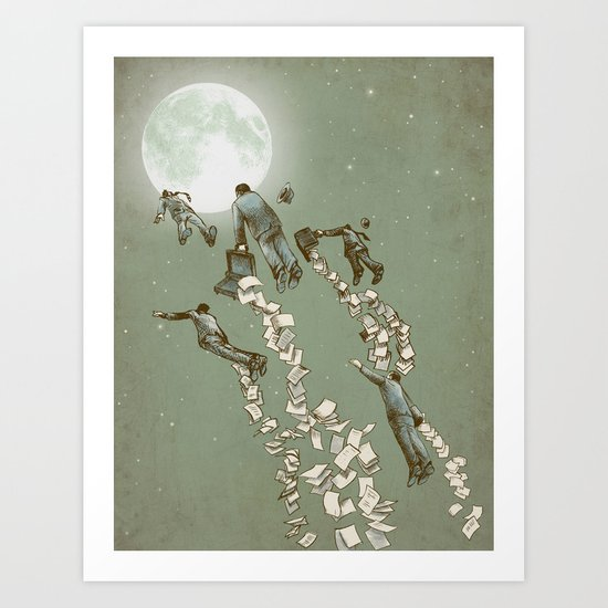 Flight of the Salary Men Art Print