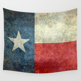 Texas flag, Retro distressed texture Wall Tapestry