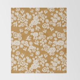 Bee Garden - linocut art, mustard, yellow, garden floral, home decor, bees, florals, flowers print Throw Blanket