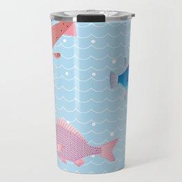 Snapper, Squid, Globefish and Wave Travel Mug