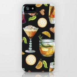 Cocktail and Biscuit Pattern Black Background iPhone Case