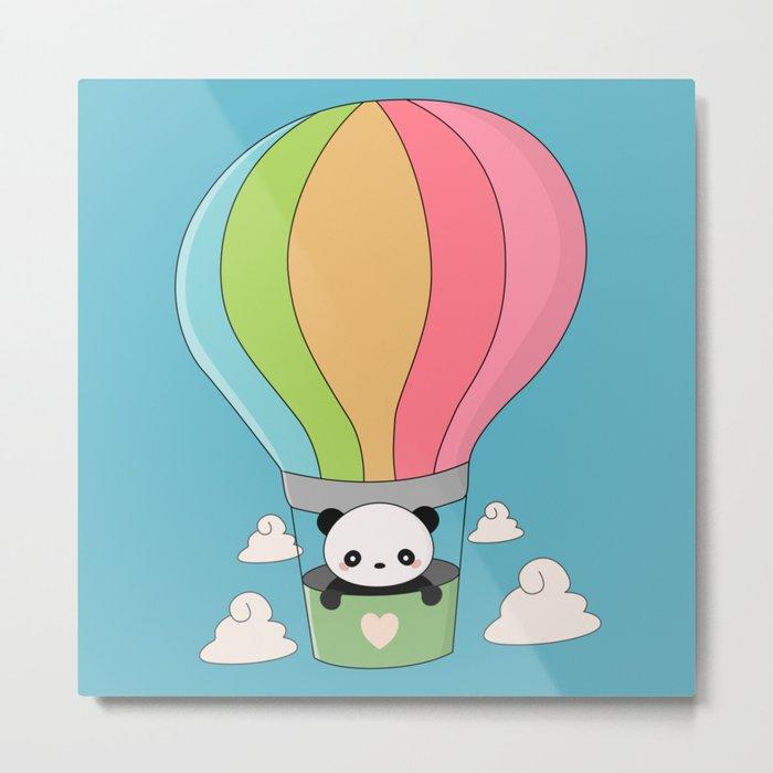 Kawaii Panda Bear Hot Air Balloon Metal Print