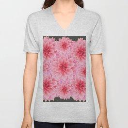 PINK DAHLIA FLOWERS IN GREY DESIGN Unisex V-Neck