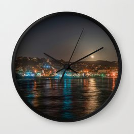 Moon Over Main Beach Wall Clock