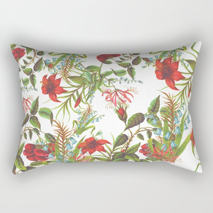 Ruby & Cerulean Floral Rectangular Pillow
