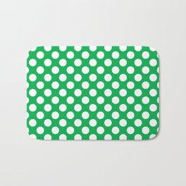 White Polka Dots with Green Background Bath Mat