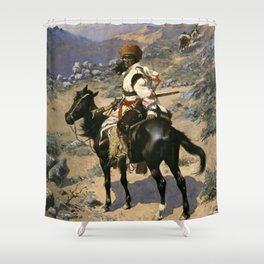 "Frederic Remington Western Art ""An Indian Trapper"" Shower Curtain"