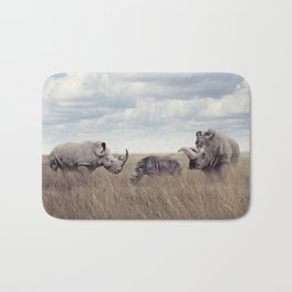 White rhinoceros or square-lipped rhinoceros in the grassland Bath Mat
