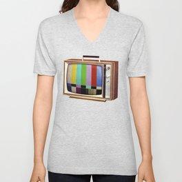 Retro old TV on test screen pattern Unisex V-Neck